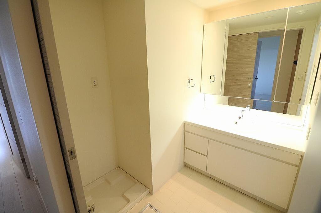 独立洗面台&室内洗濯置き付きのゆったりめの脱衣所